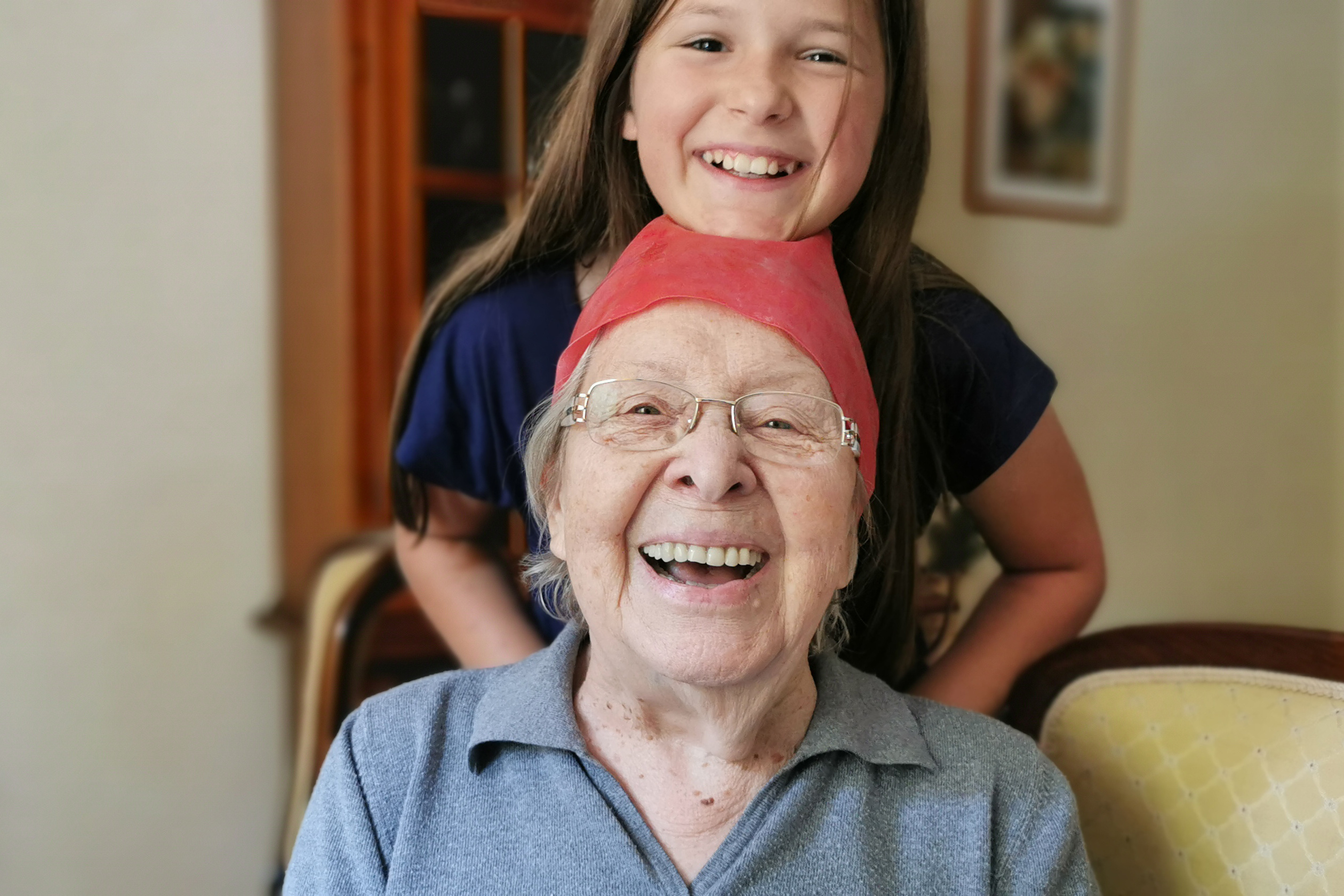 Old woman & Girl Smiling